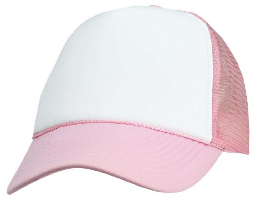 (DALIX Blank Hat Two Tone Summer Mesh Cap in Pink and White Trucker Hat)