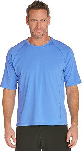 Coolibar UPF 50+ Men's Swim Shirt - Sun Protective (Large - Surf Blue)
