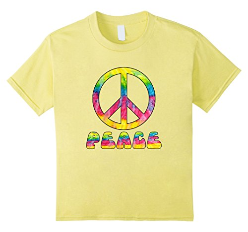 Kids Peace Sign Tie Dye Colors T Shirt Hippy Costume 8 Lemon