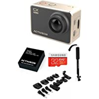 ACTIVEON CX Gold Action Cam - Bundle With 32GB MicroSDHC Card, Activeon Selfie Stick, Rechargeable Li-ion Battery, Bag of Mounts