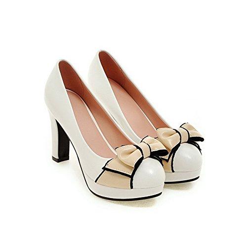 AgooLar Damen Ziehen auf PU Rund Zehe Hoher Absatz Gemischte Farbe Pumps Schuhe Weiß