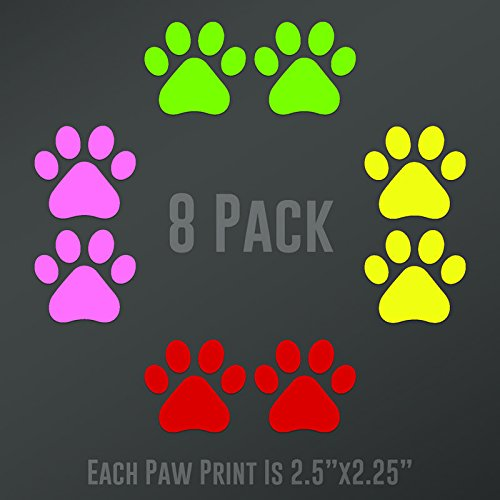 DD894MC Dog Paw Prints 8-Pack (2 Lime Green, 2 Light Pink, 2 Red, 2 Yellow) | Each paw 2.5-Inches By 2.25-Inches | Premium Quality Vinyl