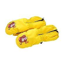 Warm Baby Gloves Waterproof Outdoor Ski Baby Hanging Mittens [Yellow Mitten]