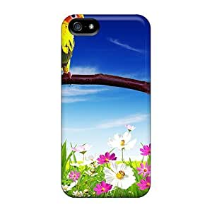 Fashion Tpu Case For Iphone 5/5s- Pair Parrots Over Flowers Defender Case Cover