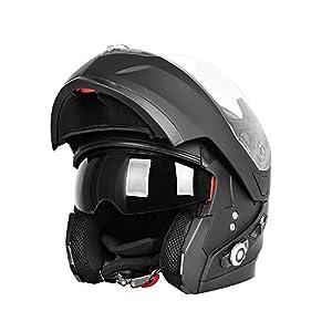 Motorcycle Bluetooth Helmets,FreedConn Flip up Dual Visors Full Face Helmet,Built-in Integrated Intercom Communication System(Range 500M,2-3Riders Pairing,FM radio,Waterproof,L,Matte Black)