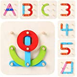 LiKee Wooden Letter-Number-Shape-Color 4 in 1 Puzzle Alphabet Set Preschool Stacking Block Educational Toys for Toddlers Kids Age 3+, Gift for New Parents and Baby's Birthday