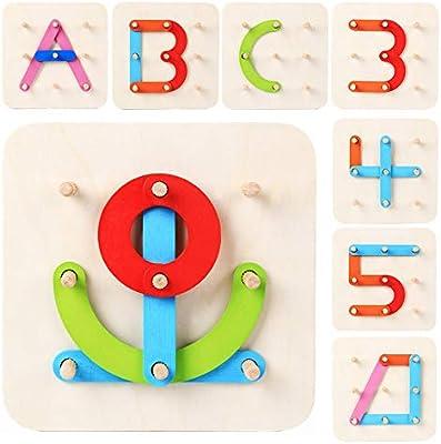 Amazon.com: LiKee - Puzzle de madera con forma de alfabeto 4 ...