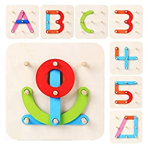LiKee Wooden Alphabet-Number-Shape-Color 4 in 1 Puzzle Preschool Stacking Block Educational Toys Toddlers Kids Age 3+, Best Gift Parents Baby's Birthday