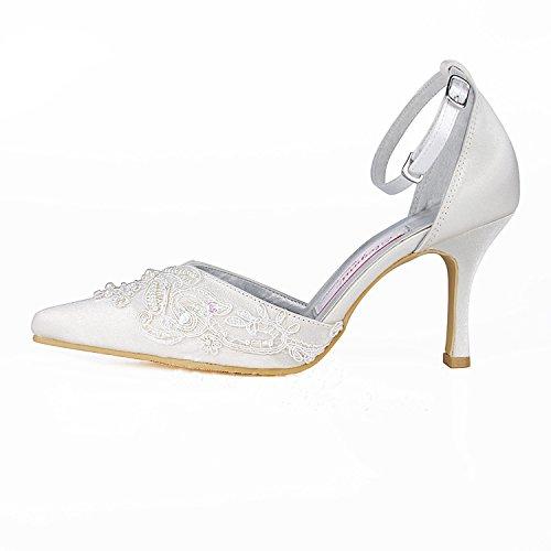 Kevin Fashion ,  Damen Modische Hochzeitsschuhe Style2-Ivory