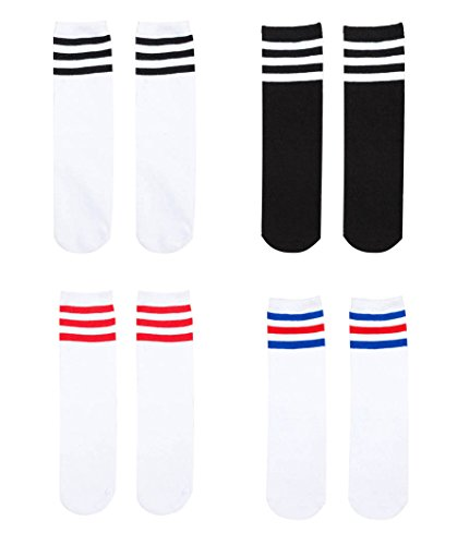 YallFairy 4 Pairs Kids Girls Boys Toddler Cotton Casual Knee High Triple Stripes Athletic Tube Socks