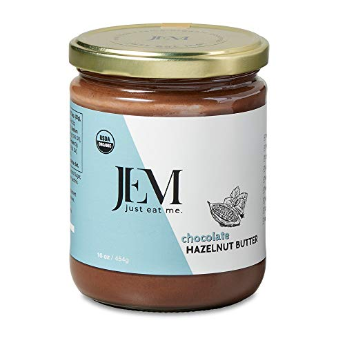 JEM - All Natural, Vegan, Organic, Dairy Free Chocolate Hazelnut Butter - Creamy Artisan Spread for Snacks and Sandwiches, 16 oz ()