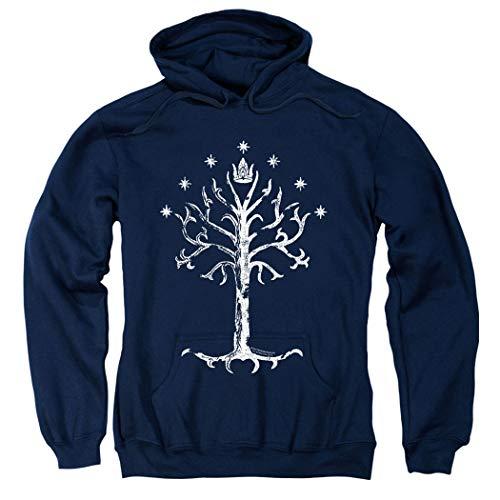 Lord of The Rings White Tree of Gondor Middle Earth Hoodie & Exclusive Stickers (Medium) (Lord Of The Rings Tcg Card List)
