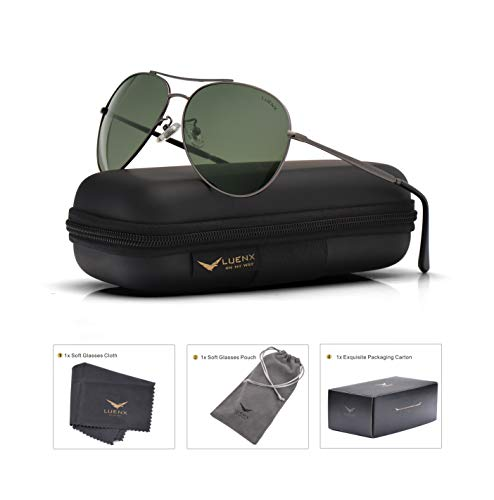 Mes Aviator Sunglasses Polarized with Accessories- Grey green lens UV 400 Protection ()