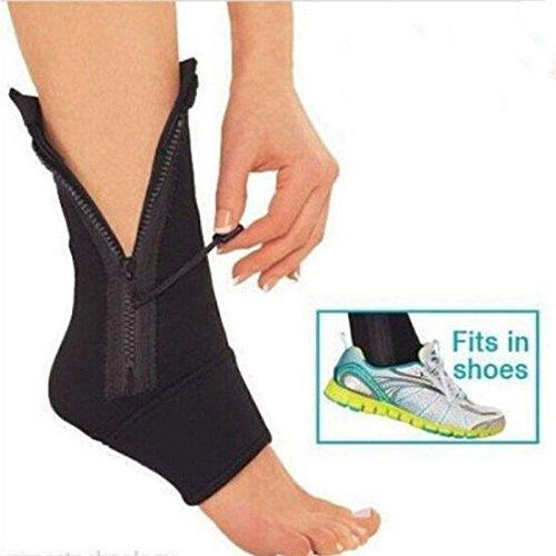 Aquiver Compression Ankle Genie Sport Support Zip Up Neoprene Brace Sprain Sleeve Pain