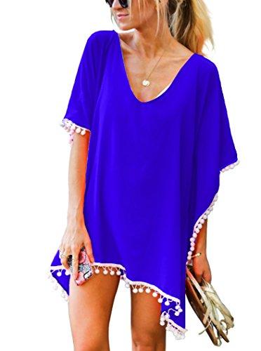 Royal Blue Pom Pom - Adreamly Women's Pom Pom Trim Kaftan Chiffon Swimwear Bathing Suit Beach Cover Up Free Size Royal Blue