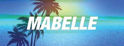 """Any and All Graphics MABELLE name on 8"""" Blue palm tree beach style vinyl decal sticker from Any and All Graphics"""