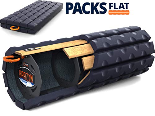 Wide Roller - Brazyn Morph Bravo Foam Roller - Collapsible & Portable Muscle Back Massager for Myofascial Release Massage (Midnight Blue)