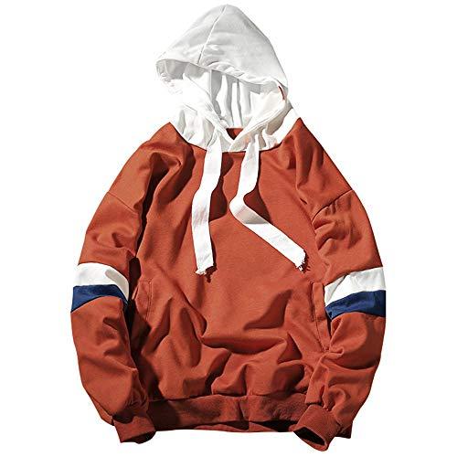 Sleeve Women Winter Men Top Hoodie Sweatshirt Pullover Block Couple Hoodies Arancia Stripe Warm Color Sweaay Oversized Hooded Down IqdFw0qa