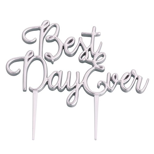 Lillian Rose CT301 S Best Day Ever Wedding Cake Topper, Silver