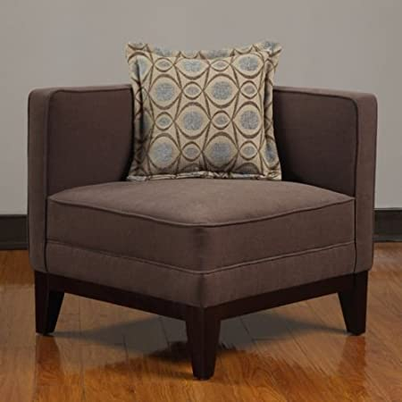 Pierce Corner Chair With Throw Pillow Square Chair Espresso Brown  Sophisticated Style For Modern Contemporary Environment