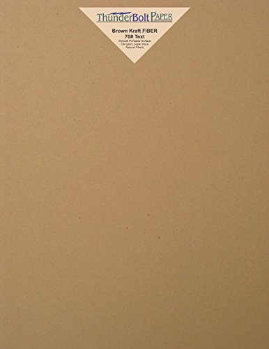 50 Brown Kraft Fiber 28/70# Text (NOT card/cover) Paper Sheets - 8.5'' X 11'' - 70lb/pound Weight (8.5X11 Inches) Standard Letter|Flyer Size - Rich Earthy Color with Natural Fibers - Smooth Finish by ThunderBolt Paper