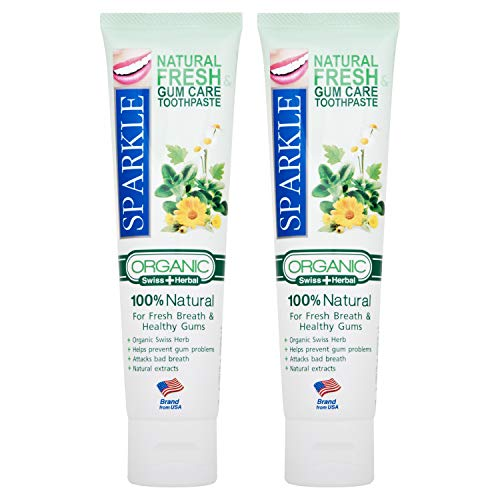 Kuron Store SPARKLE 100 Grams / 2 Pack Organic Natural Fresh Healthy Gum Oral Care Mouth Protection Whitening White Prevent Cavity Breath Herbal Sensitive Kids Paraben Free Teeth Tooth Toothpaste