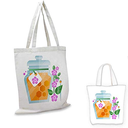 canvas laptop bag Glass jar of honey and lavender flower natural herbal organic product vector Illustration on a white background -