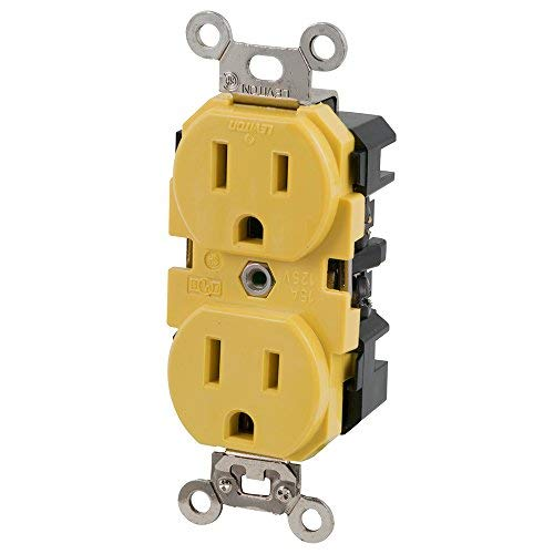 Marinco 15A 125V Duplex Straight Blade Receptacle, Yellow by Marinco