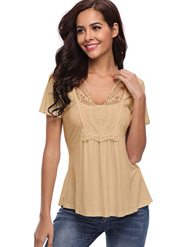 MISS MOLY Women's Deep V-Neck Ruched Front Short Sleeve Ruffle Casual Tops Tunic Blouse Shirt (X-Large/US-18, Light Apricot)