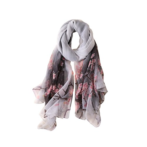 Faskelin Chinoiserie Fashion Scarves Warps Large Colorful Silk Scarfs for Women Lightweight