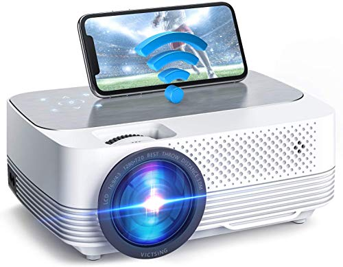 VicTsing Mini Projector 6000 Lumen, Native 720P, Wifi Projector with Screen Mirroring, Home Theaters Wireless, 1080P Supported, Compatible With TVStick, HDMI, SD, AV, VGA, USB, PS4, X-Box, iOS/Android