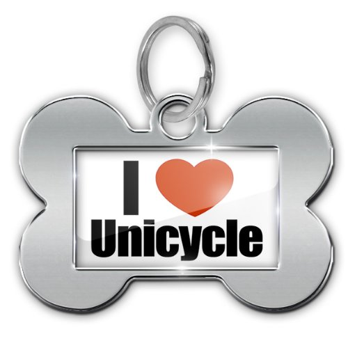 "Dog Bone Pet ID Tag ""I Love Unicycle"" - Neonblond"
