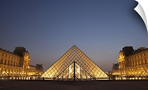 Mark Thomas Wall Peel Wall Art Print entitled France, Glass pyramid of Louvre Museum, Paris - Sunset Paris In Time France