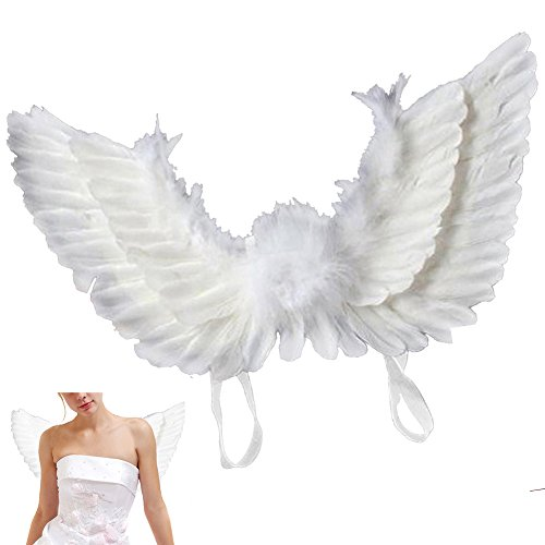 Newdanceus Christmas Costume Angel Feather Wings Butterfly Style Theme Party Costumes (Adult, White) -