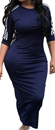 Ajustement Des Femmes Cromoncent Mince Extensible À Manches 3/4 Ras Du Cou Rayé Bleu Marine Robe Moulante Midi