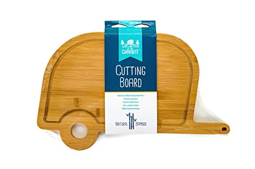 Camco Life is Better at The Campsite Retro RV Shaped Bamboo Wood Cutting Board for Food Prep-Doesn't Dull Knives, Resists Moisture and Has Antibacterial Properties (53089)