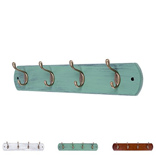DOKEHOM DKH0164DB 4-Antique Brass Hooks (Available 4 and 6 Hooks) on Natural Pine Wooden Coat Rack Hanger, Mail Box Packing (Mediterranean Blue)