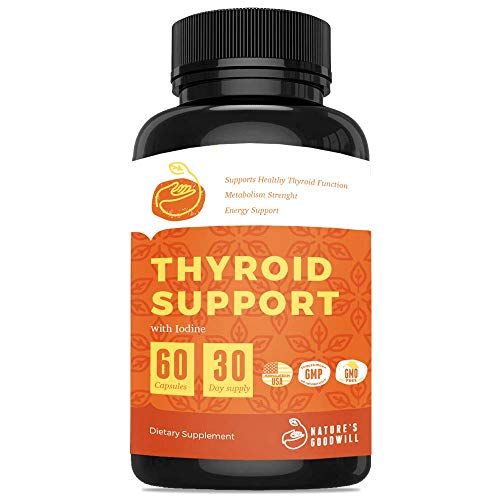 Thyroid Support Supplement with Iodine ǀ Nature Throid Energy Pills, Metabolism Booster for Weight Loss and Focus Formula with Ashwagandha, L-Tyrosine, Magnesium & Selenium ǀ 60 Capsules