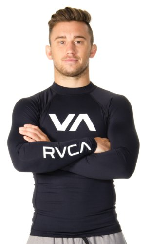 RVCA Men's VA Rash Guard, Black, Large