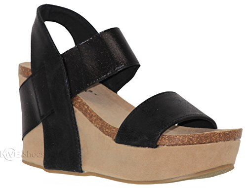MVE Shoes Women's Back Buckle Strap Wedge - Open Toe Heeled Sandal - Faux Leather Fashion Platform, truce-03 Black ()