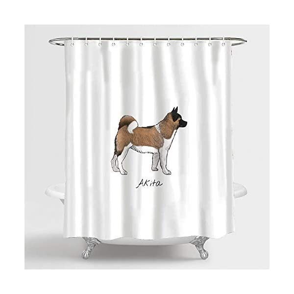 "FabricMCC Shower Curtain, Bath Curtain 71"" x 79"" Akita, Surreal Bathroom Decor 2"