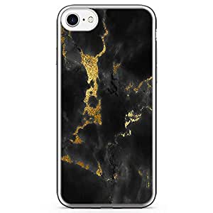 iPhone 7 Transparent Edge Phone Case Gold Marble Phone Case Dark Phone Case Black Gold iPhone 7 Cover with Transparent Frame