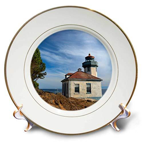3dRose Danita Delimont - Washington - USA, Washington State, San Juan Island, Lime Kiln Point Lighthouse. - 8 inch Porcelain Plate (cp_315158_1)