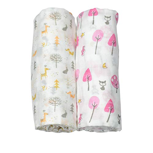 Candy Mento Cotton Extra Soft Muslin Swaddle Wrap for New-Born Baby, 100 X 100 cm (Print May Vary) – Pack of 2