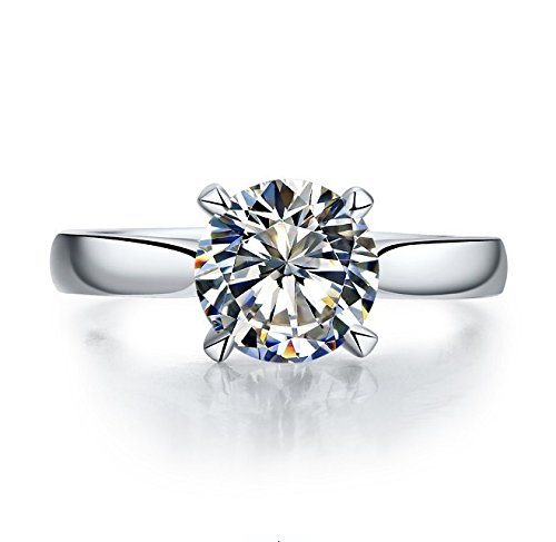 K-DESIGN : Top Quality Classic Luxury 2 Carat Cushion Cut SONA Synthetic Diamond Solitaire Engagement Ring for women X8801