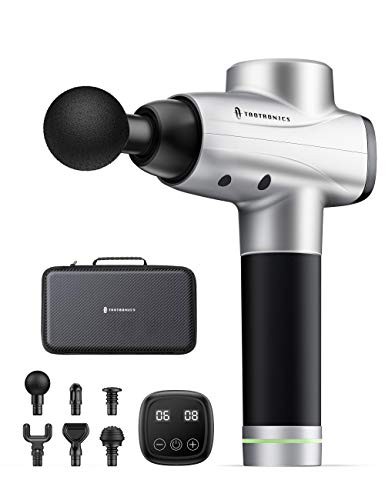TaoTronics Massage Gun, Handheld Percussion Massager Deep Tissue Massage Gun for Pain Relief with 10 Speed 6 Massage Heads, Professional Body Muscle Massager with Portable Case for Gym Office Home