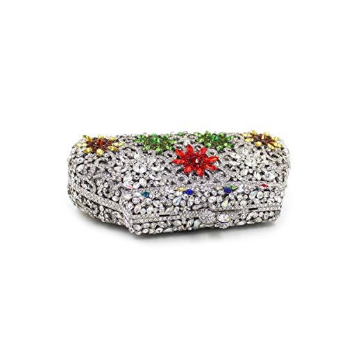 Silver Borsa forma tracolla a Borsa in di diamanti a cristallo lusso con farfalla strass con tracolla di a nqwgCwYT