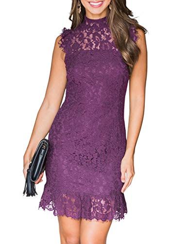 MEROKEETY Women's High Neck Sleeveless Floral Lace Ruffle Cocktail Party Mini Dress Cocktail Evening Club Dress