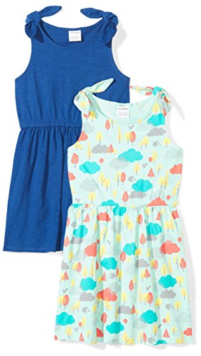 Spotted Zebra Little Girls' 2-Pack Knit Sleeveless Knot Shoulder Dresses, Nature Print/Blue, X-Small (4-5) (Zebra Girls Dress)