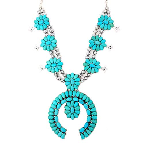 (Squash Blossom Turquoise Statement Necklace and Earrings Set Western Naja Pendant)